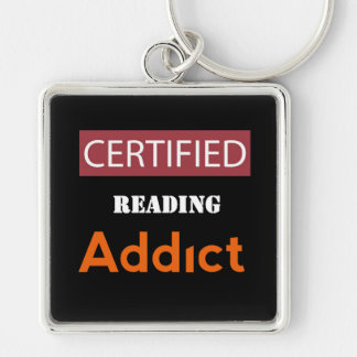 Certificado leyendo al adicto llavero cuadrado plateado