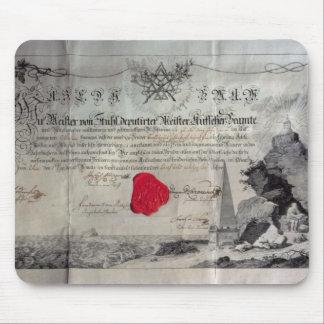 Certificado masónico, 1785 tapete de ratones