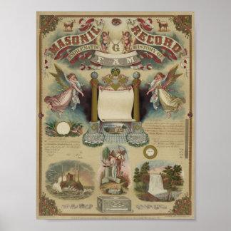 Certificado masónico del diploma póster
