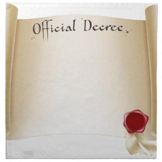 Certificado oficial de papel servilletas