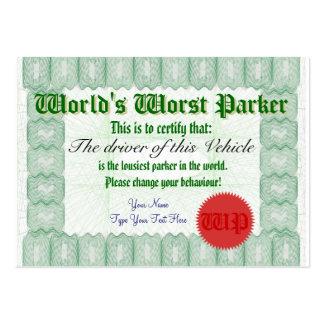 Certificado peor del premio del estacionamiento de tarjetas de visita grandes
