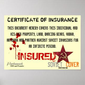 Certificado soviético de la cubierta de seguro póster
