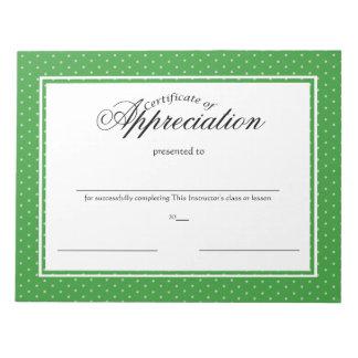 Certificados de aprecio libretas para notas