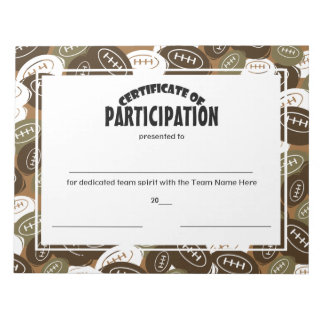 Certificados del fútbol de participación blocs de papel