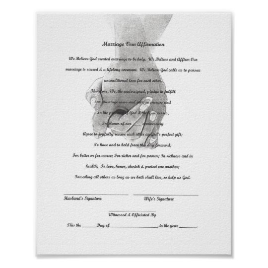 Certificate Marriage Vow Renewal Template Poster | Zazzle.com
