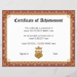 """CERTIFICATE OF ACHIEVEMENT<br><div class=""""desc"""">Easy-to-customize Certificate Layout for any occassion</div>"""