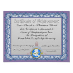 Certificate of achievement (Christian Institution) Poster at Zazzle
