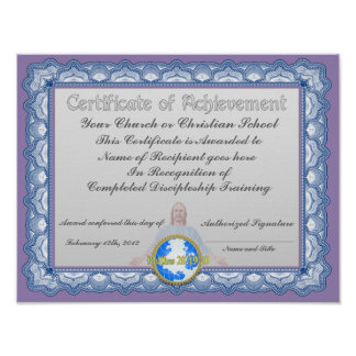 Certificate of achievement (Christian Institution) Poster