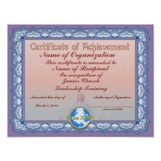 Certificate of Achievement (Christian) Poster at Zazzle