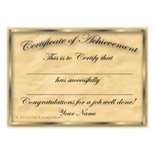 Certificate of Achievement Chubby Card profilecard