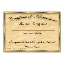 Certificate of Achievement Chubby Card profilecard