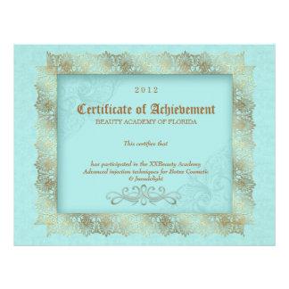 Certificate of Achievement Diploma Beauty Blue Letterhead