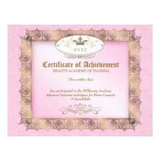 Certificate of Achievement Diploma Beauty Pink Letterhead