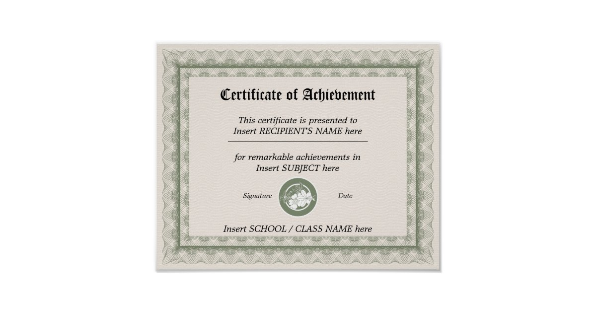 Certificate Of Achievement Poster  Zazzle
