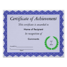 Certificate of Achievement Poster at Zazzle