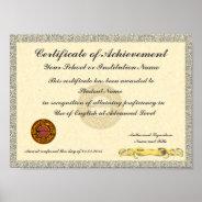 Certificate Of Achievement School College Award Poster at Zazzle