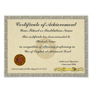 Certificate of Achievement School College Award Poster