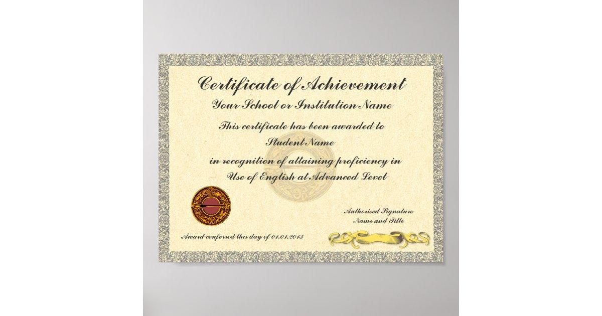 Certificate Of Achievement School College Award Poster Zazzle
