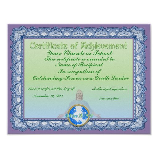 Certificate of Acievement (Christian) Poster