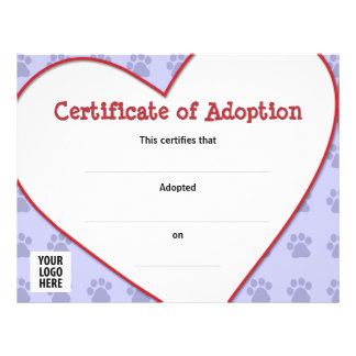 Certificate of Adoption: Dog, Cat, Any Pet Flyer