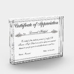 """Certificate of Appreciation Personalized Award<br><div class=""""desc"""">What better way to truly show your appreciation than with this special acrylic plaque. And it&#39;s so easy!! Just type over the example text under the personalize heading and you&#39;ll have your very own custom made printed certificate of appreciation acrylic plaque/trophy (that looks like glass!) ready to order and print!!...</div>"""