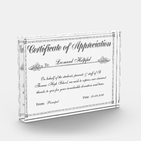 Certificate of appreciation personalized award zazzle certificate of appreciation personalized award yadclub Image collections