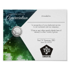 Certificate Of Appreciation Staff Employee Award Poster at Zazzle