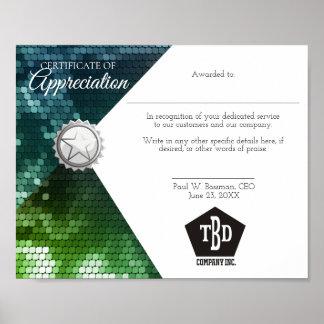 Certificate of appreciation staff employee award poster