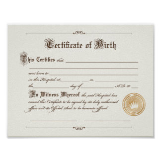 Certificate of Birth Art Print