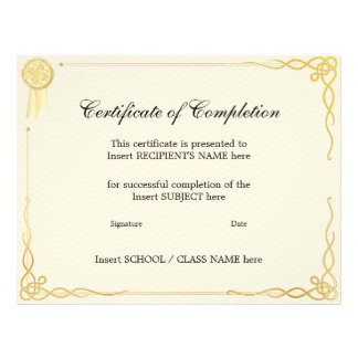 """CERTIFICATE OF COMPLETION 8.5"""" X 11"""" FLYER"""