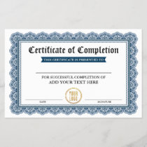 Certificate of Completion - Add Your Logo