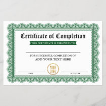 Certificate of Completion - Add Your Logo Green