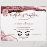 "Certificate of Completion Award Course Completion<br><div class=""desc"">Makeup artist Wink Eye Beauty Salon Lash Extension Course Completion unicorn iridescent holographic,  you can add your logo</div>"
