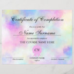 "Certificate of Completion Award Course Unicorn<br><div class=""desc"">Makeup artist Wink Eye Beauty Salon Lash Extension Course Completion with Unicorn background</div>"