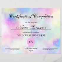 Certificate of Completion Award Course Unicorn