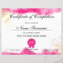Certificate of Completion Award Course watercolor
