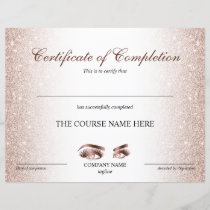 Certificate of Completion Award lashes Course