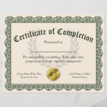 Certificate of Completion, Customizable 8.5x11