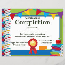 Certificate of Completion Customizable Kids 8.5x11