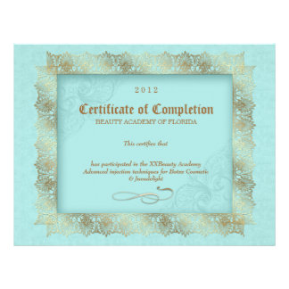 Certificate of Completion Diploma Beauty Blue Custom Letterhead