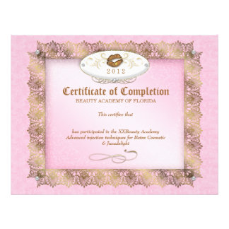 Certificate of Completion Diploma Beauty Makeup Letterhead