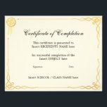 """CERTIFICATE OF COMPLETION FLYER<br><div class=""""desc"""">Easy-to-customize Certificate Layout for any occassion</div>"""
