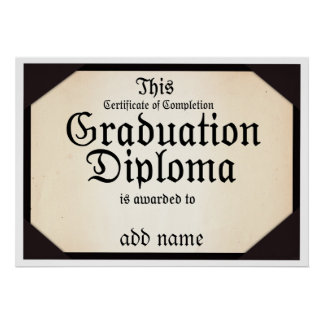 Certificate of Completion Graduation Diploma Poster