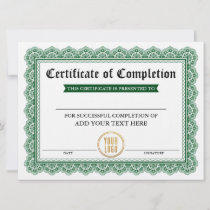 Certificate of Completion Green - Your Logo Card