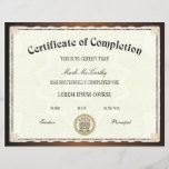 "Certificate of Completion Template<br><div class=""desc"">Easy-to-customize Certificate Layout for any occassion</div>"