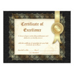 Certificate of Excellence Diploma Black Cream Personalized Letterhead