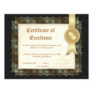 Certificate of Excellence Diploma Black Cream Letterhead
