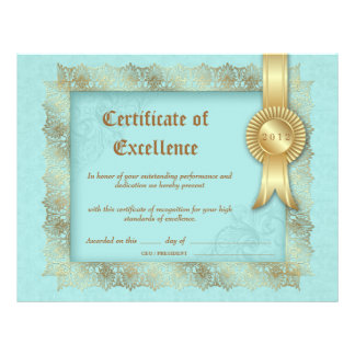 Certificate of Excellence Diploma Gold Blue Letterhead