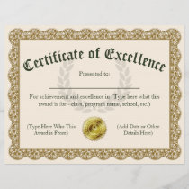 Certificate of Excellence Gold Customizable 8.5x11
