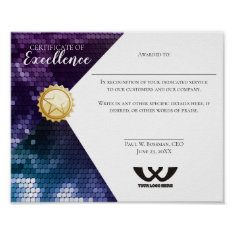 Certificate Of Excellence Staff Employee Award Poster at Zazzle